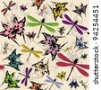 Vector seamless pattern with butterflies and dragonflies - stock vector