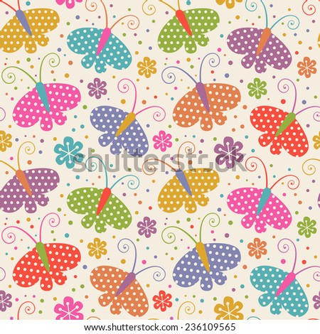 Vector seamless pattern with butterflies. Decorative background for print, web. Cute orange illustration - stock vector