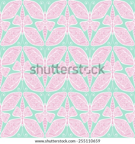 Vector seamless pattern with butterfly. Baby colour seamless ornament. - stock vector