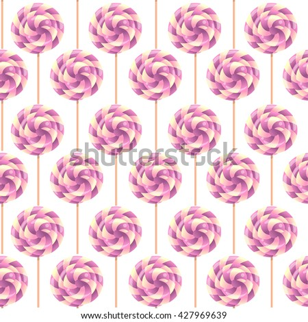 vector seamless pattern with candy, lollipop spiral multicolored,  white background - stock vector