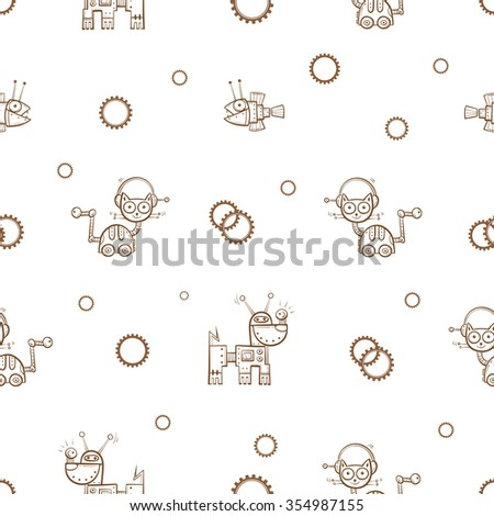Vector seamless pattern with cartoon cats, dogs and fishes  robots  on  white  background. - stock vector