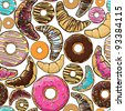 Vector seamless pattern with cartoon donuts and croissants. - stock vector