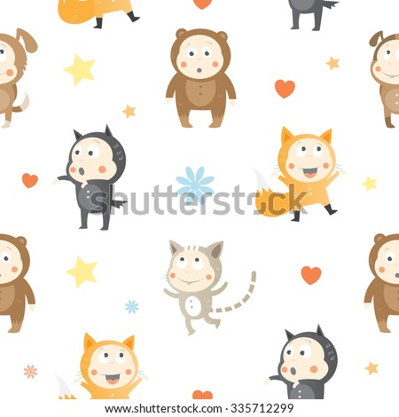 Vector seamless pattern with cartoon kids animals on white background. - stock vector
