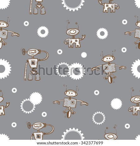 Vector seamless pattern with cartoon robots and gears on  gray background.