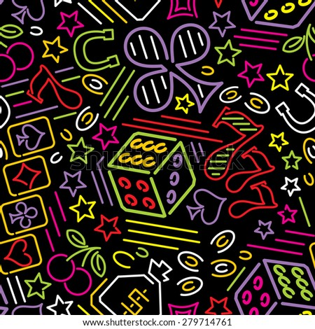 vector seamless pattern with casino icons in neon style - stock vector