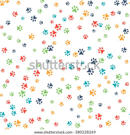Vector seamless pattern with cat or dog footprints. Can be used for wallpaper, web page background, surface textures. Add your text.