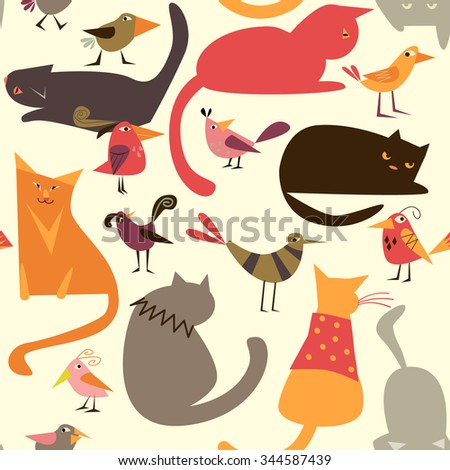 Vector seamless pattern with cats and birds - stock vector