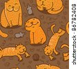 vector seamless pattern with cats in different poses - stock vector