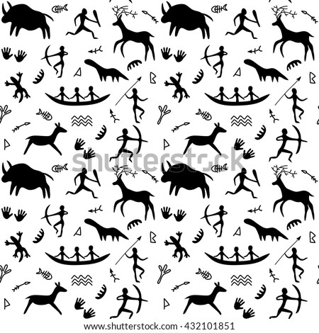 Vector Seamless Pattern with Cave Drawings Theme, black silhouettes of hunting caveman and wild animals - stock vector