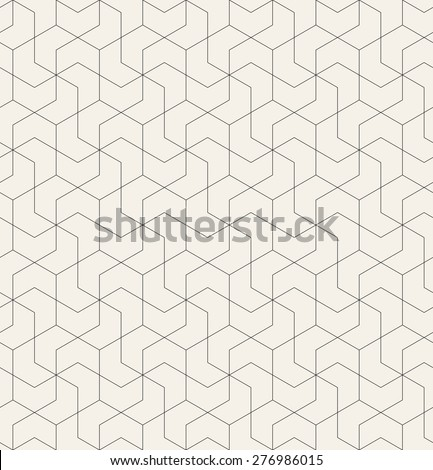 Vector seamless pattern with chevron. Modern monochrome texture. Linear grid with twisted polygonal elements. Repeating abstract background. Geometric stylish tiles.  - stock vector