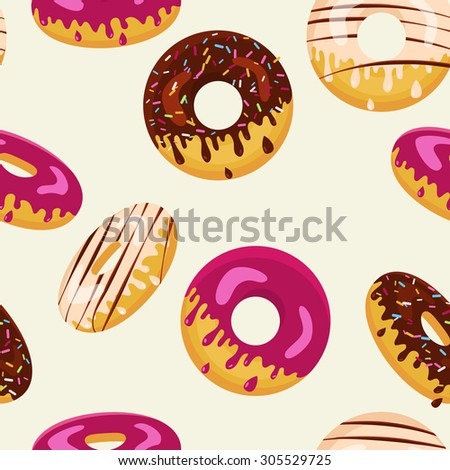Vector seamless pattern with chocolate, white and pink sweet tasty donuts. Food flat background. Abstract concept for cafe, restaurant, breakfast menu, desserts, bakery.  - stock vector