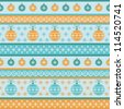 Vector seamless pattern with christmas balls and snowflakes. Holiday colorful winter striped background for print and web. Abstract simple ornamental illustration in warm tints of orange and blue - stock vector