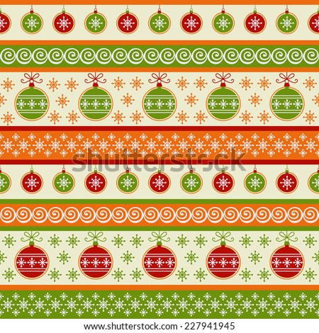Vector seamless pattern with Christmas balls and snowflakes. Holiday striped background. Retro decorative illustration for print, web
