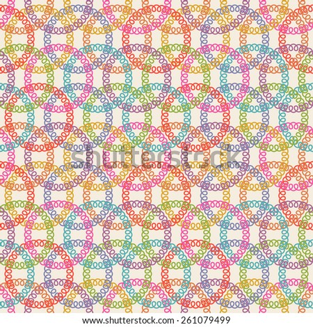 Vector seamless pattern with circle of doodle. Geometric ornament. Color decorative illustration for print, web - stock vector