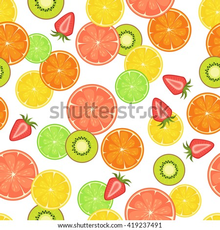 Vector seamless pattern with citrus, strawberry and kiwi slices. On white isolated background. Food design for wrapping paper, textile.