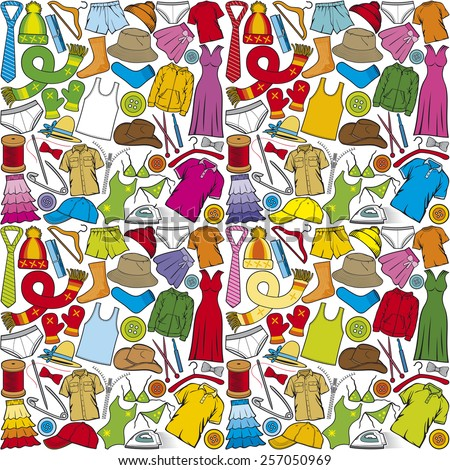 vector seamless pattern with clothes (vector background with male and female clothes) - stock vector