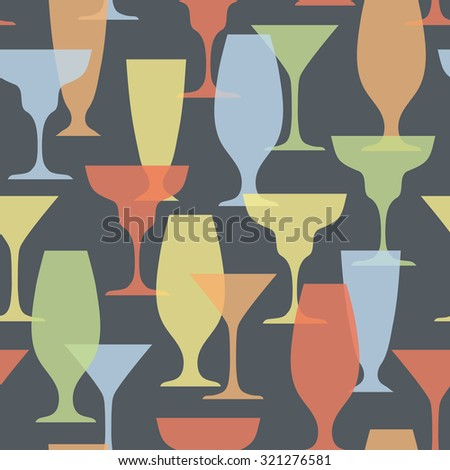 vector seamless pattern with cocktail glasses - stock vector