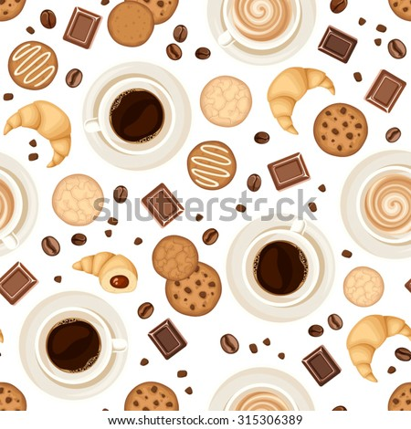 Vector seamless pattern with coffee cups, beans, cookies, croissants and chocolate on a white background.  - stock vector