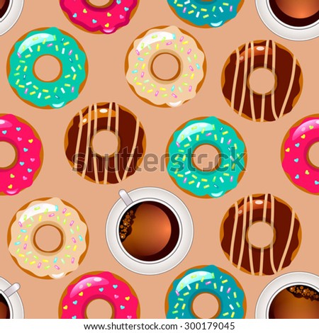 vector seamless pattern with color donuts - stock vector