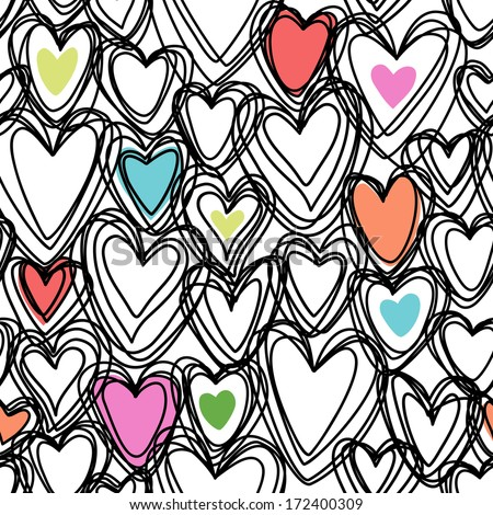 Vector seamless pattern with color hearts of doodles. Romantic background Valentine's Day, wedding in childish hand drawn sketch style. Abstract ornamental cute decorative illustration for print, web - stock vector