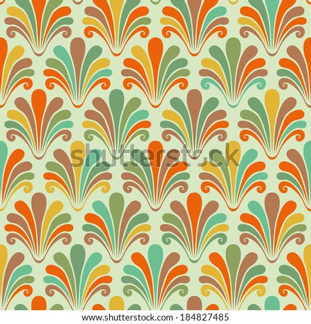 Vector seamless pattern with color shells. Abstract decorative illustration for print, web