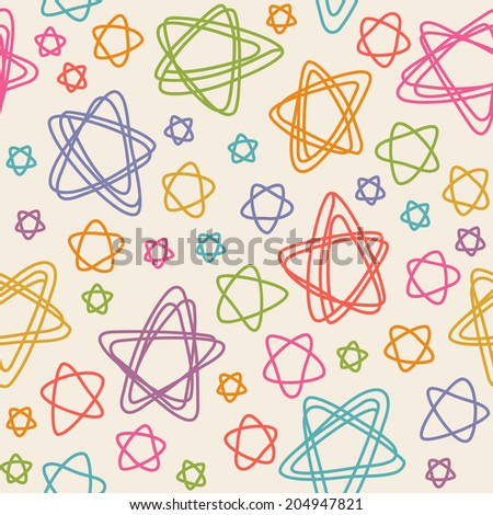 Vector seamless pattern with color stars of doodles. Texture in childish hand drawn style. Illustration for print, web