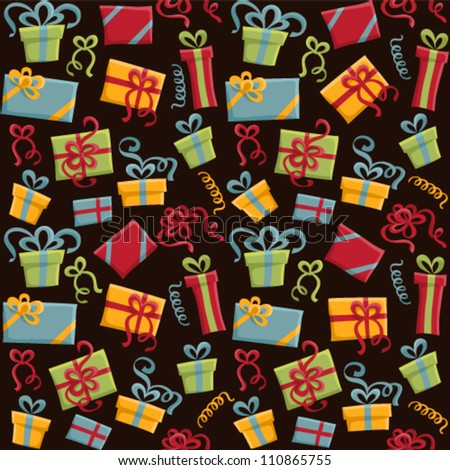 Vector seamless pattern with colored gifts - stock vector