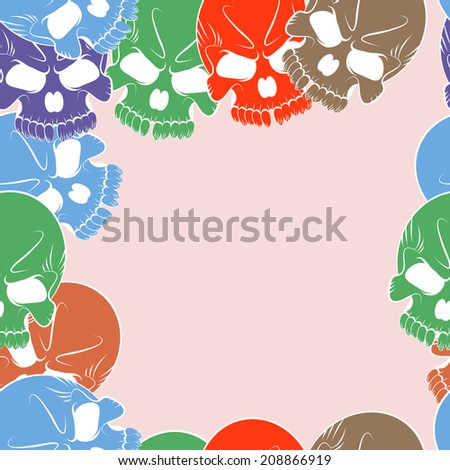 Vector Seamless pattern with colored skulls  - stock vector