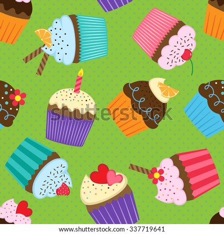 Vector seamless pattern with colorful and tasty cupcakes  - stock vector