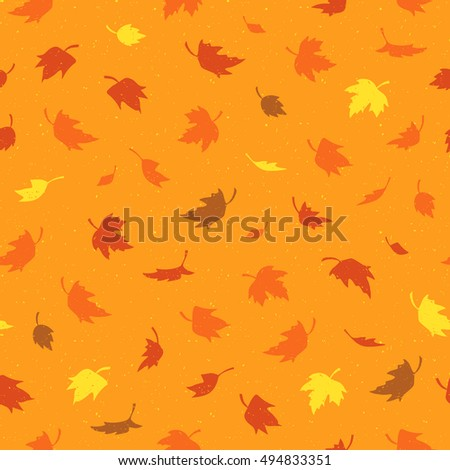 Vector seamless pattern with colorful autumn leaves. Various red, orange and yellow leaves on a bright background. Modern leaf texture