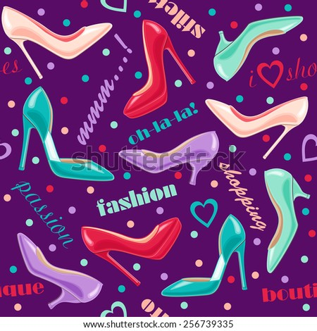 Vector seamless pattern with colorful female high-heeled shoes  - stock vector