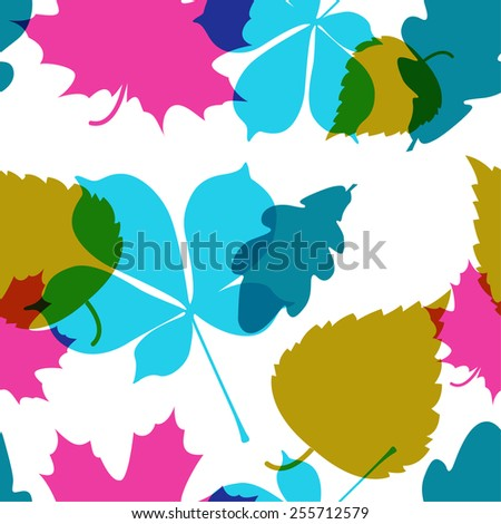Vector seamless pattern with colorful leaves. Background with forest plant.