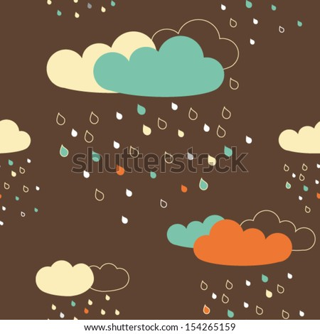 Vector seamless pattern with colorful rainy clouds - stock vector