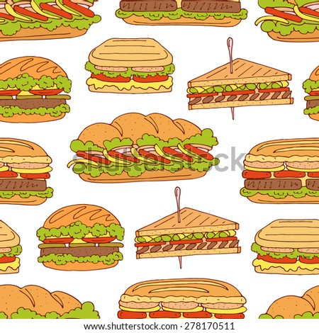 Vector seamless pattern with colorful sandwiches and burgers. Fast food background
