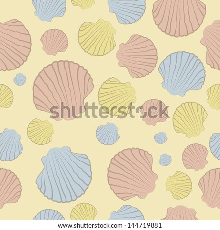 Vector seamless pattern with  colorful shells on a beige background