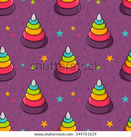 Vector seamless pattern with colorful toy pyramid for kids and stars - stock vector