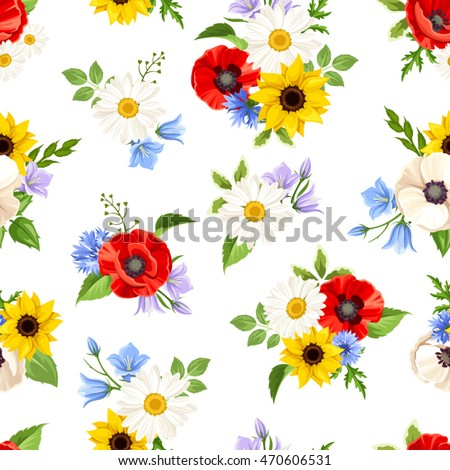Vector seamless pattern with colorful wild flowers on a white background.