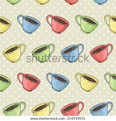 vector seamless pattern with cups on dotted background - stock vector