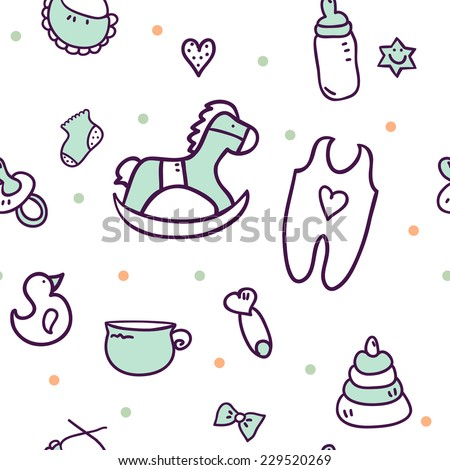 Vector seamless pattern with cute baby icons: horse, socks, toy, feeding-bottle. Can be used for textures, wallpaper, pattern fills, web page background. Perfect for your design. - stock vector