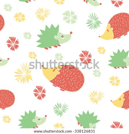 Vector Seamless Pattern with Cute  Cartoon Hedgehogs. Pattern in pink  and green colors. Print for girls. - stock vector