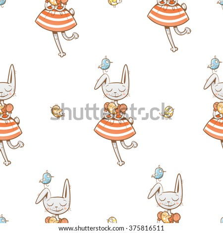 Vector seamless pattern with cute cartoon rabbits and birds girls on  white background. - stock vector
