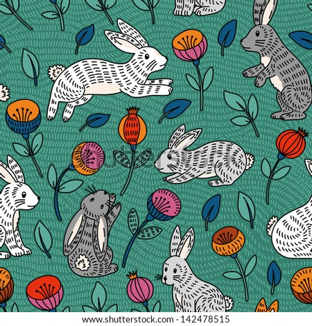 Vector seamless pattern with cute colorful bunny and flowers. - stock vector