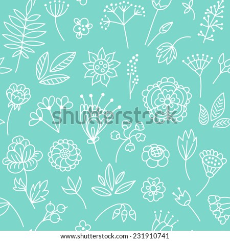 Vector seamless pattern with cute floral elements - stock vector