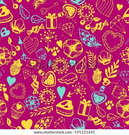 Vector seamless pattern with cute handdrawn lovely elements. yellow and aquamarine on dark pink color background. Wrapping paper, wallpaper, packaging, fabric textile. Wedding modern decoration