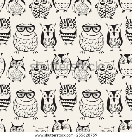 Vector seamless pattern with cute owls. Cartoon characters of creative professions. Sleepy dudes in the form of birds with an individual appearance. Hipsters monochrome print. Stylish graphic design - stock vector