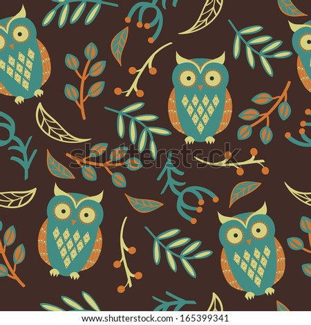 Vector seamless pattern with cute owls, leaves - stock vector
