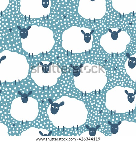 Vector seamless pattern with cute sheeps - stock vector
