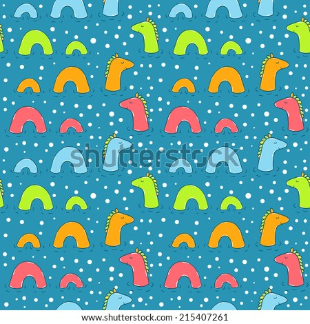 Vector seamless pattern with cute water monster. Bright funny texture with smiling animals. Childish background with Loch Ness Monsters. - stock vector