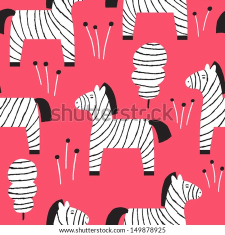 Vector seamless pattern with cute zebras - stock vector