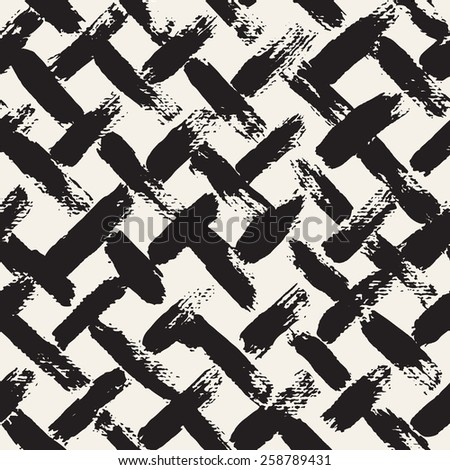 Vector seamless pattern with diagonal careless strokes. Abstract background made using of brush smears. Monochrome hand drawn texture. Modern graphic design. - stock vector